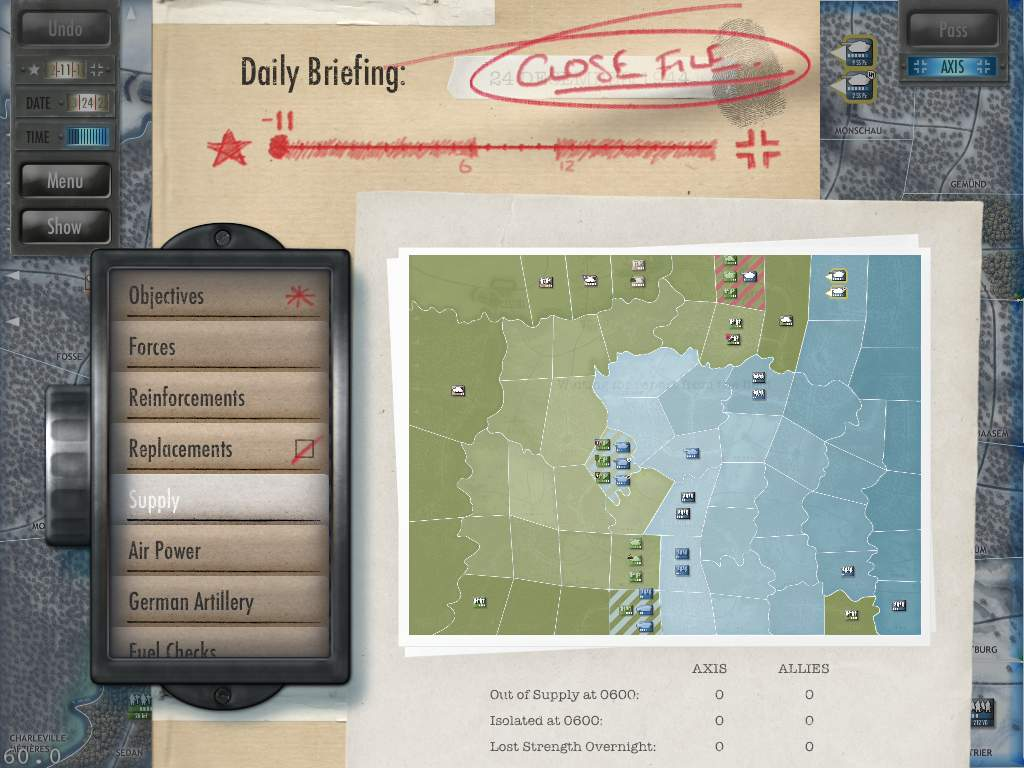 Battle of the Bulge supply view Early Version