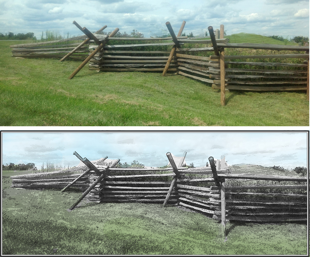 A photo of the actual Gettysburg battlefield as it looks today (minus the cars, signs and road), recreated using the etching process.